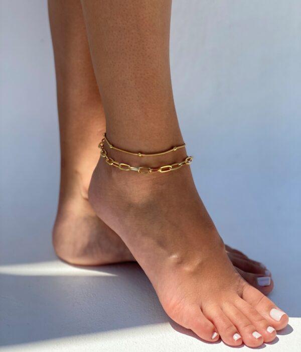 Set of 2 Gold Anklets Hephaestus