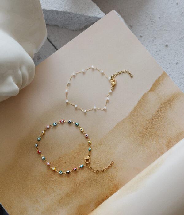 Set of 2 Gold Anklets Nephele (Waterproof)