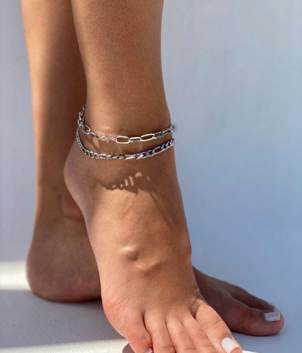 Set of 2 Silver Anklets Hypatia
